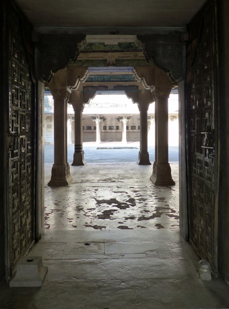 Door on to a courtyard with stone columns