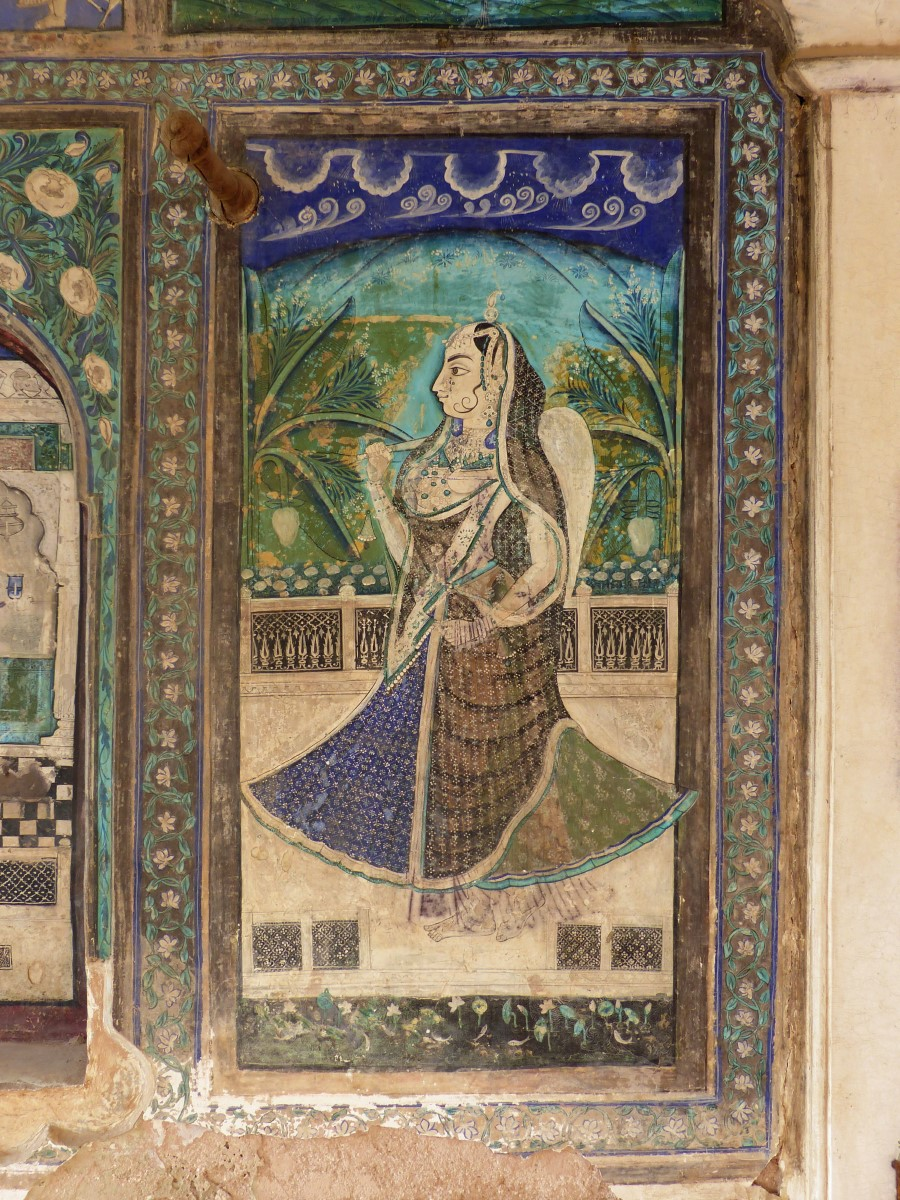 Wall painting of girl in long dress