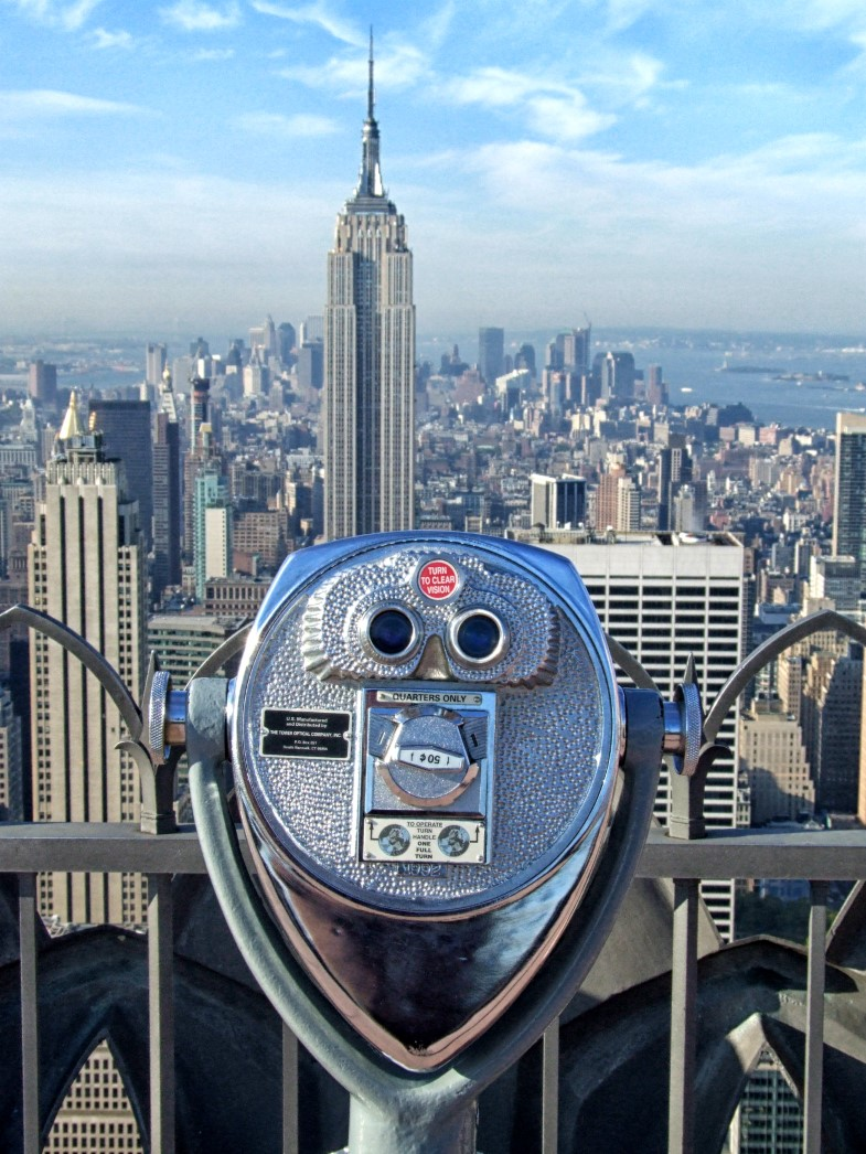 Binoculars and Empire State Building beyond