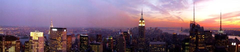 Panorama of Manhattan at sunset