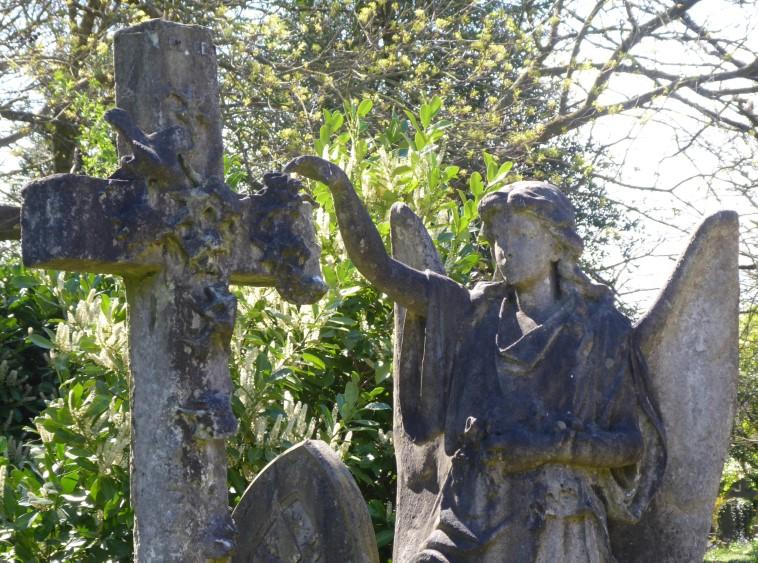 Stone cross and angel