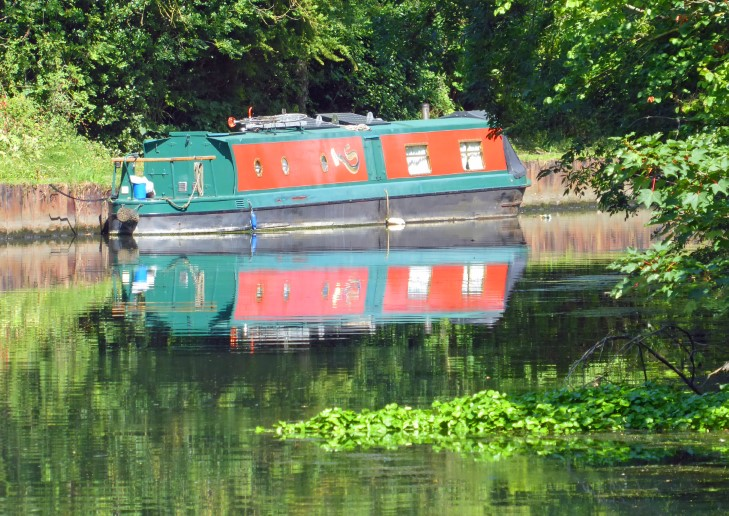 Narrowboat moored on a canal