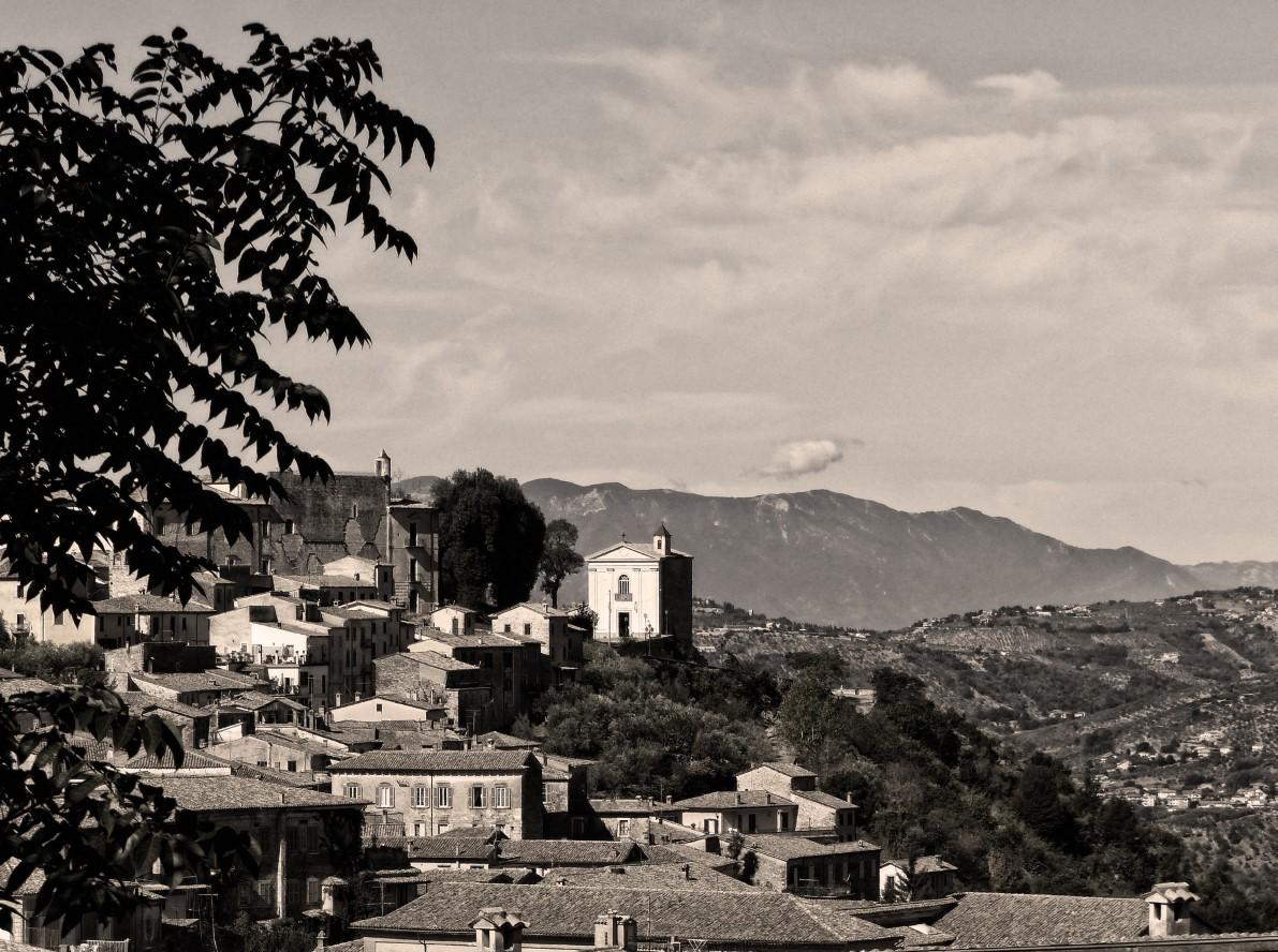 Italian hill town in sepia
