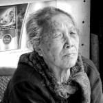 Black and white photo of elderly lady