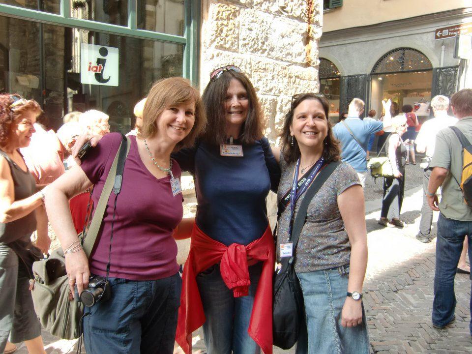 Three women on a city street