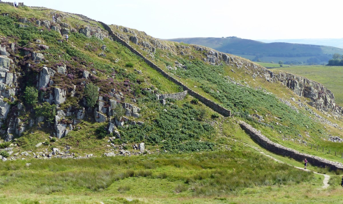 Rocky hillside with stone wall