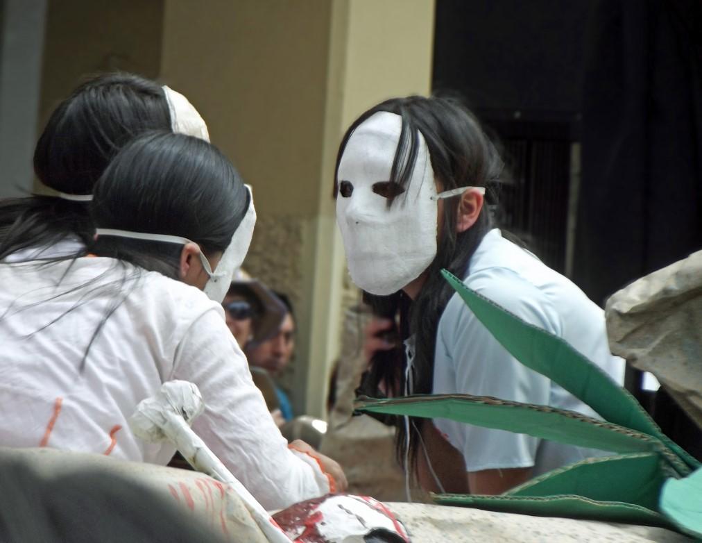 Girls in white masks