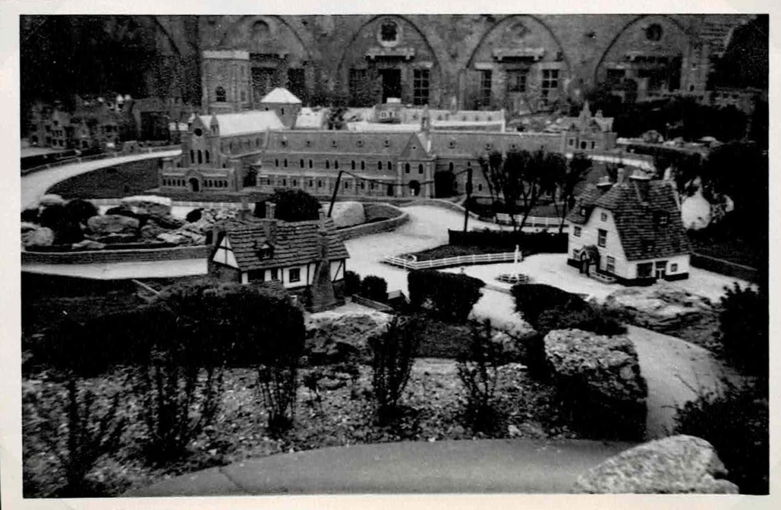 Black and white photo of a model village