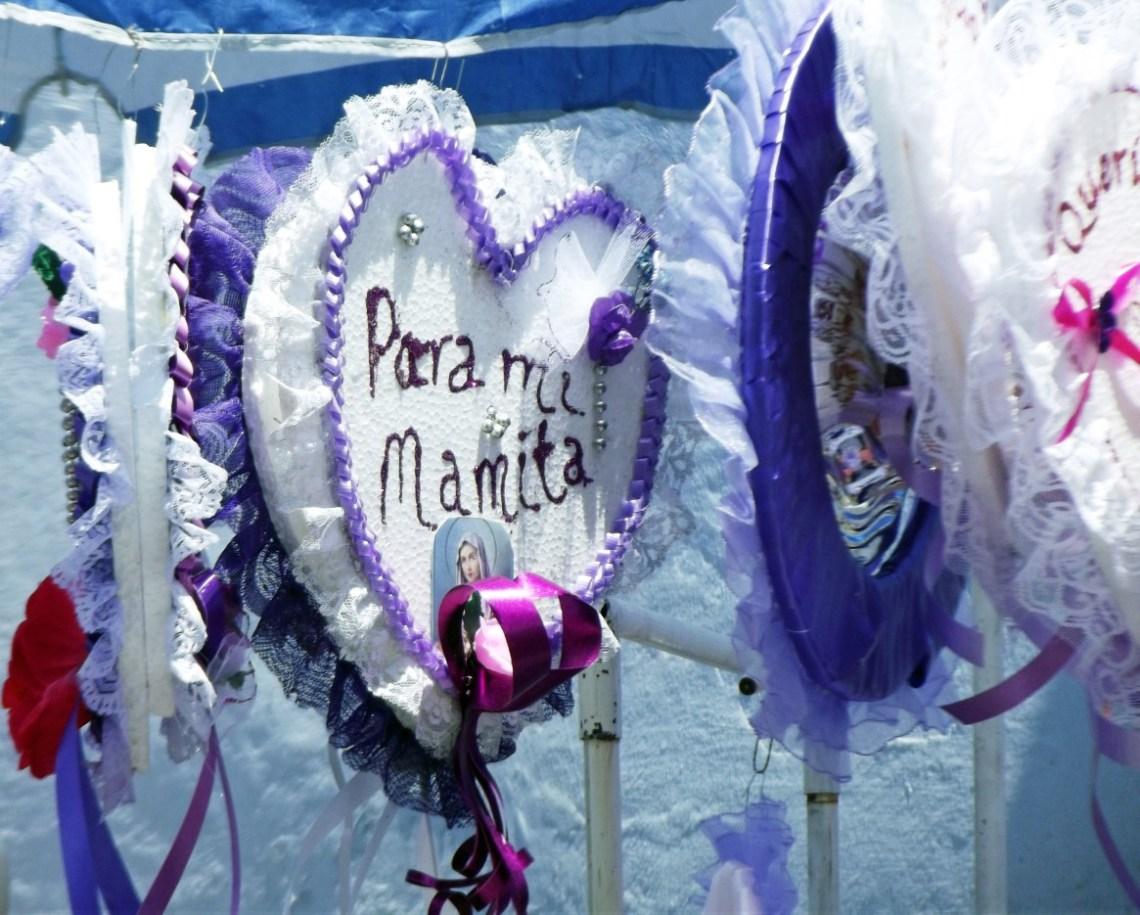 White hearts with purple trim