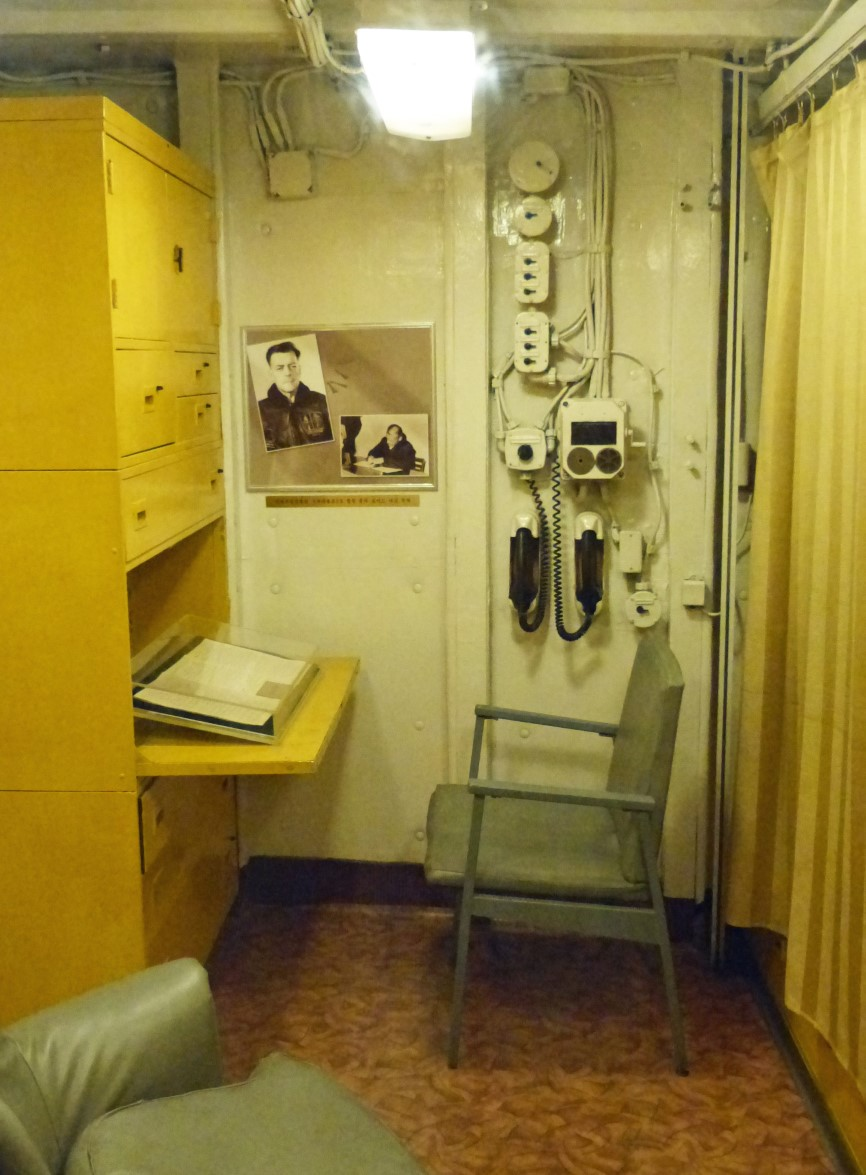 Desk and chair on board ship