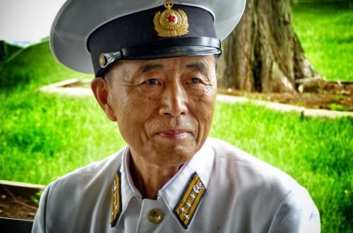 Elderly man in naval uniform