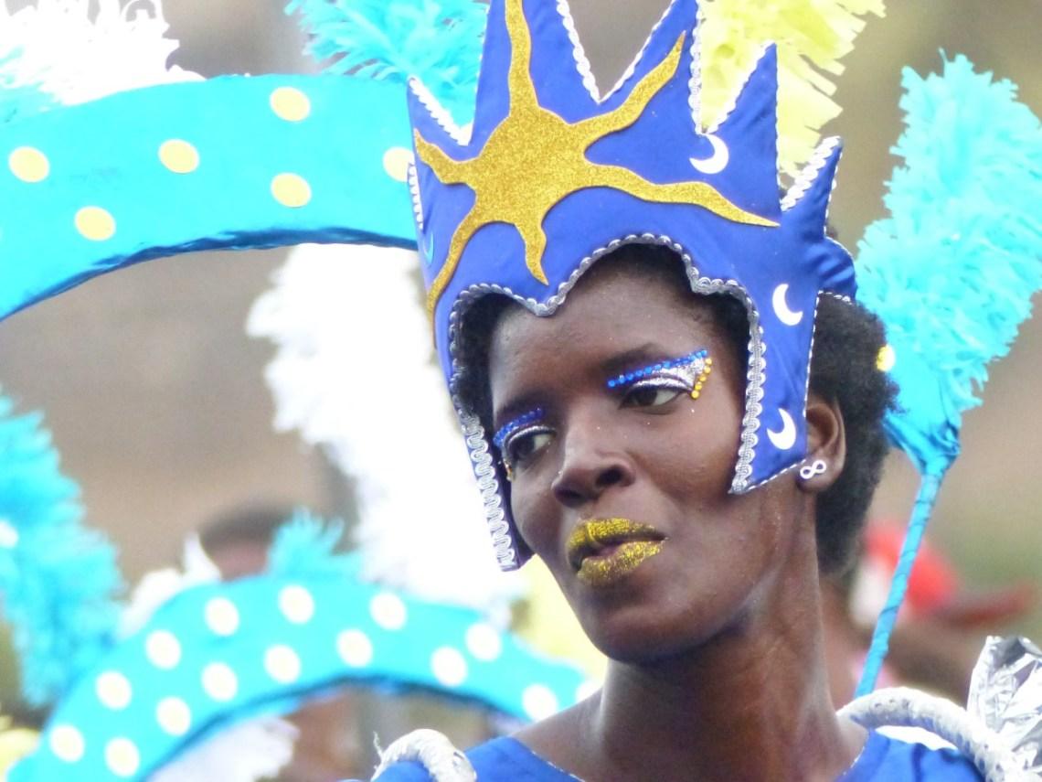 Lady in bright carnival costume