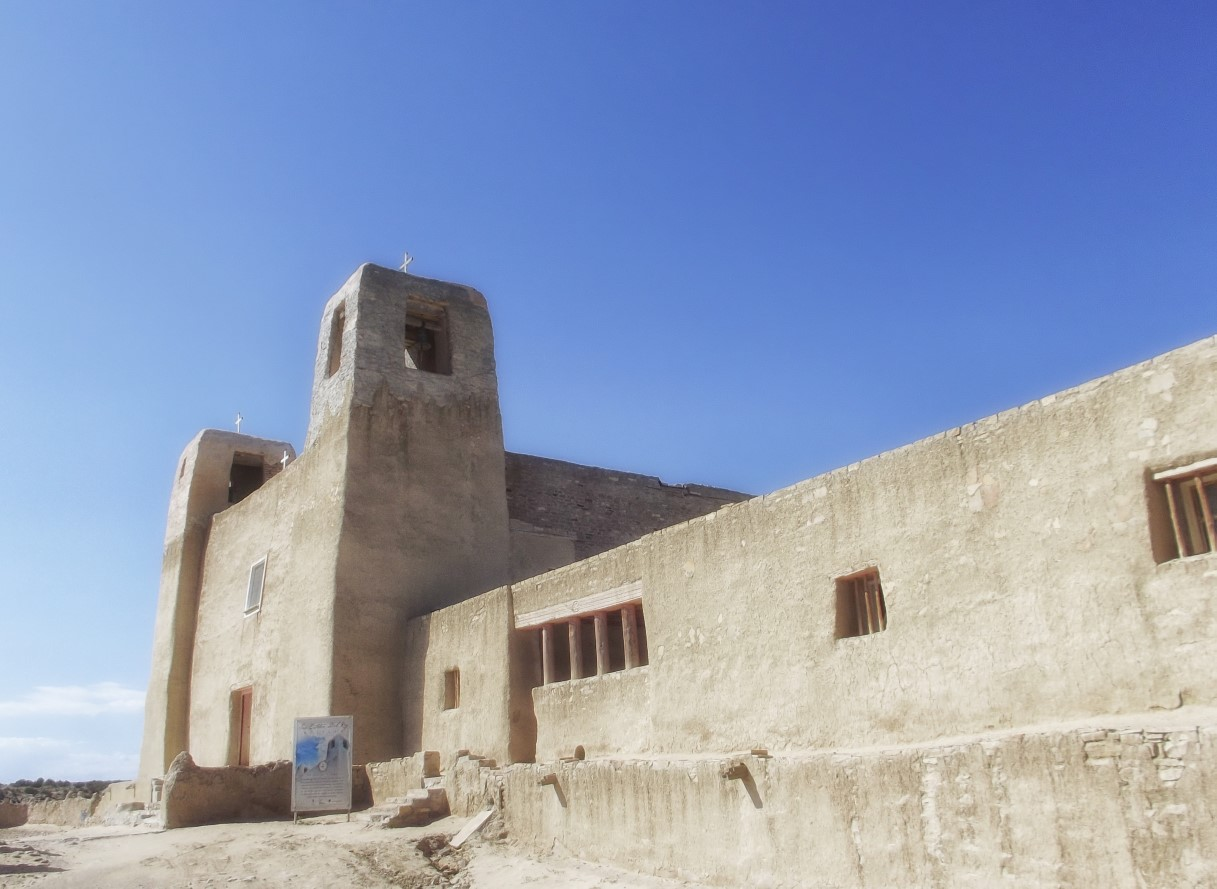 Adobe church and houses