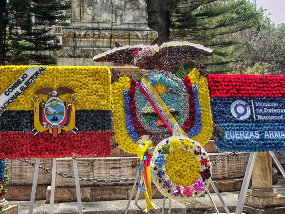 Large floral displays in flag and crest forms