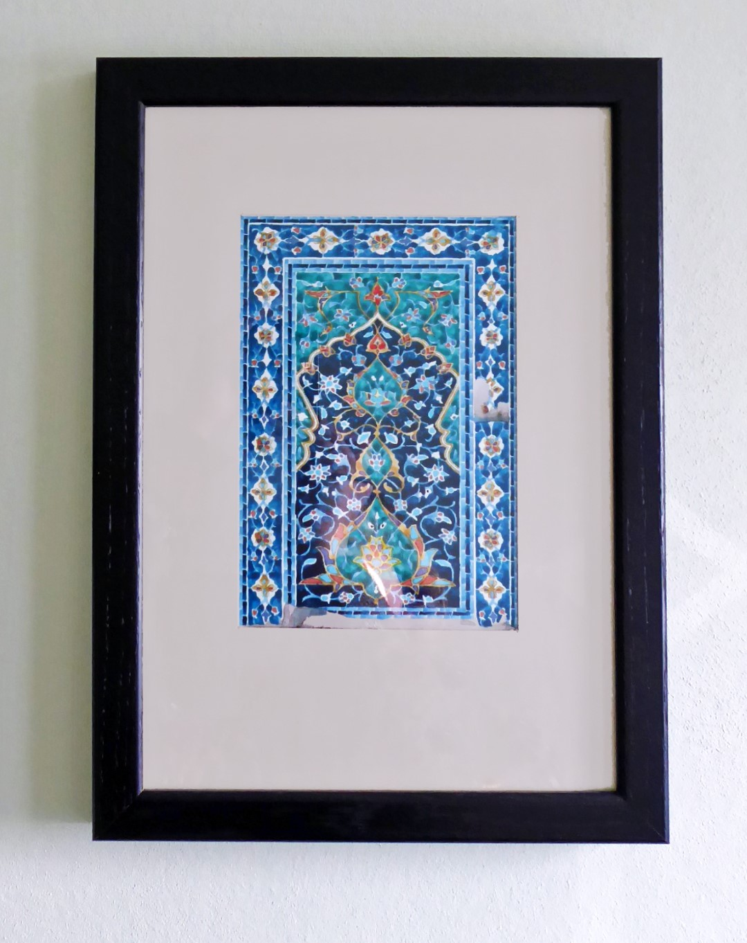 Painting of blue tiled wall