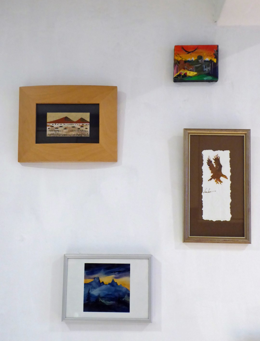 Small paintings on a wall