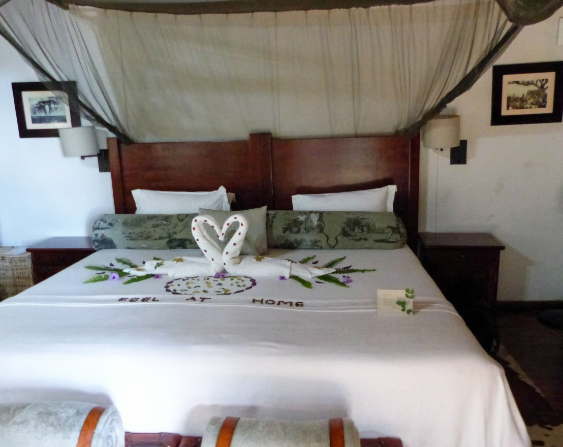 Bed decorated with leaves and seeds