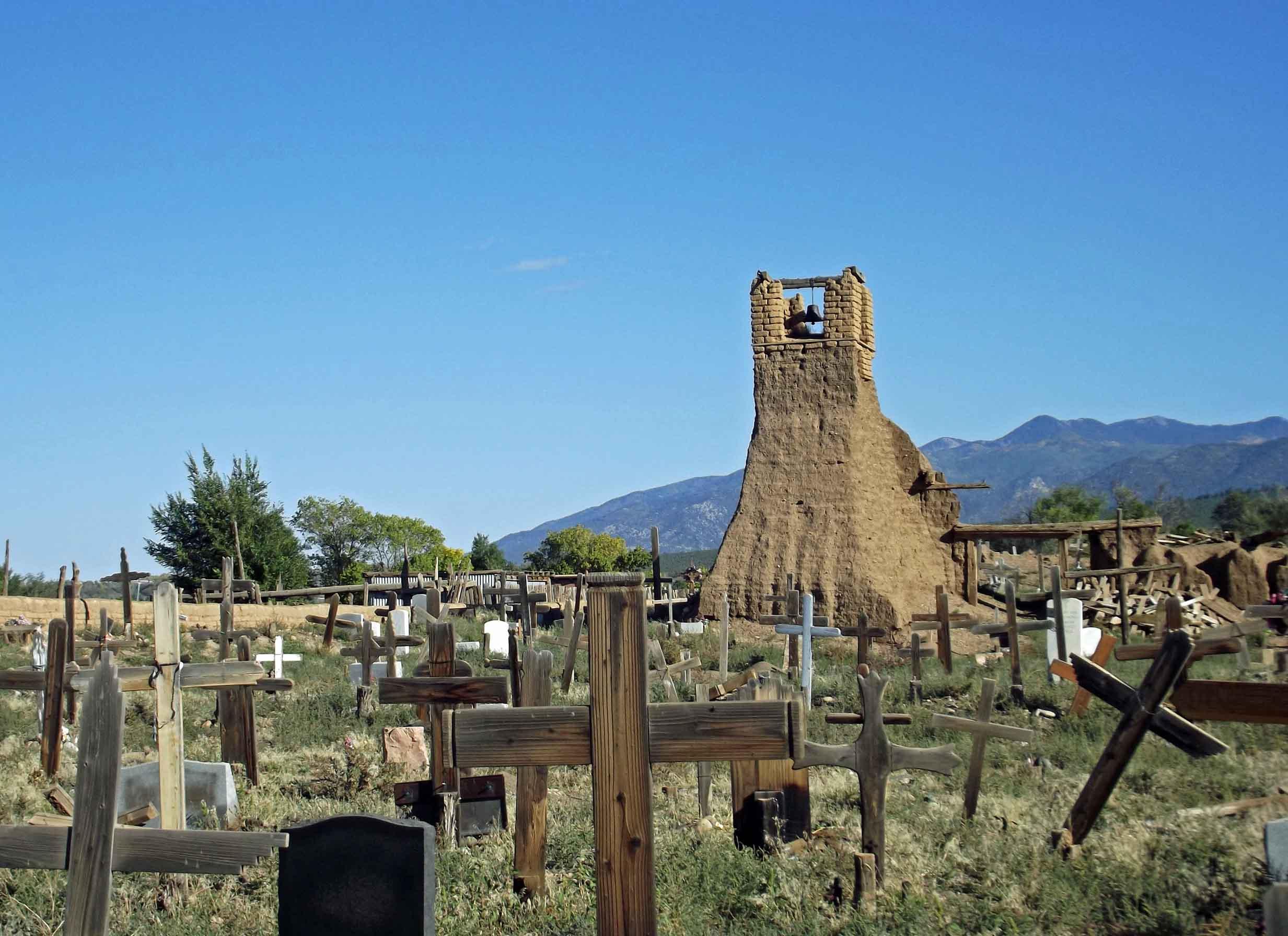 Ruined church set in a cemetery