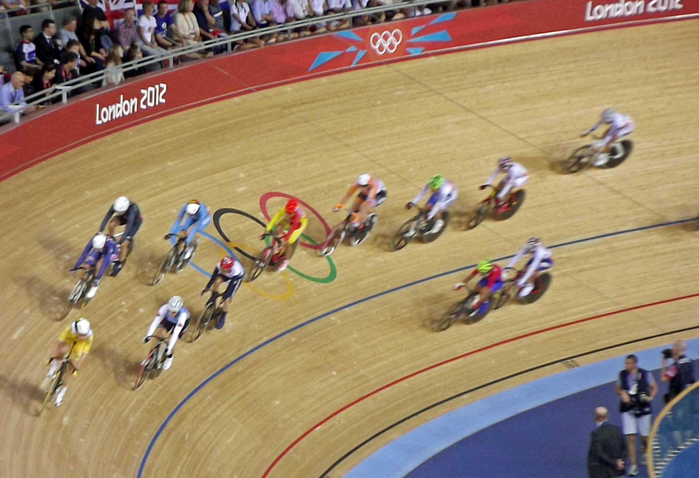 Cyclists on a track