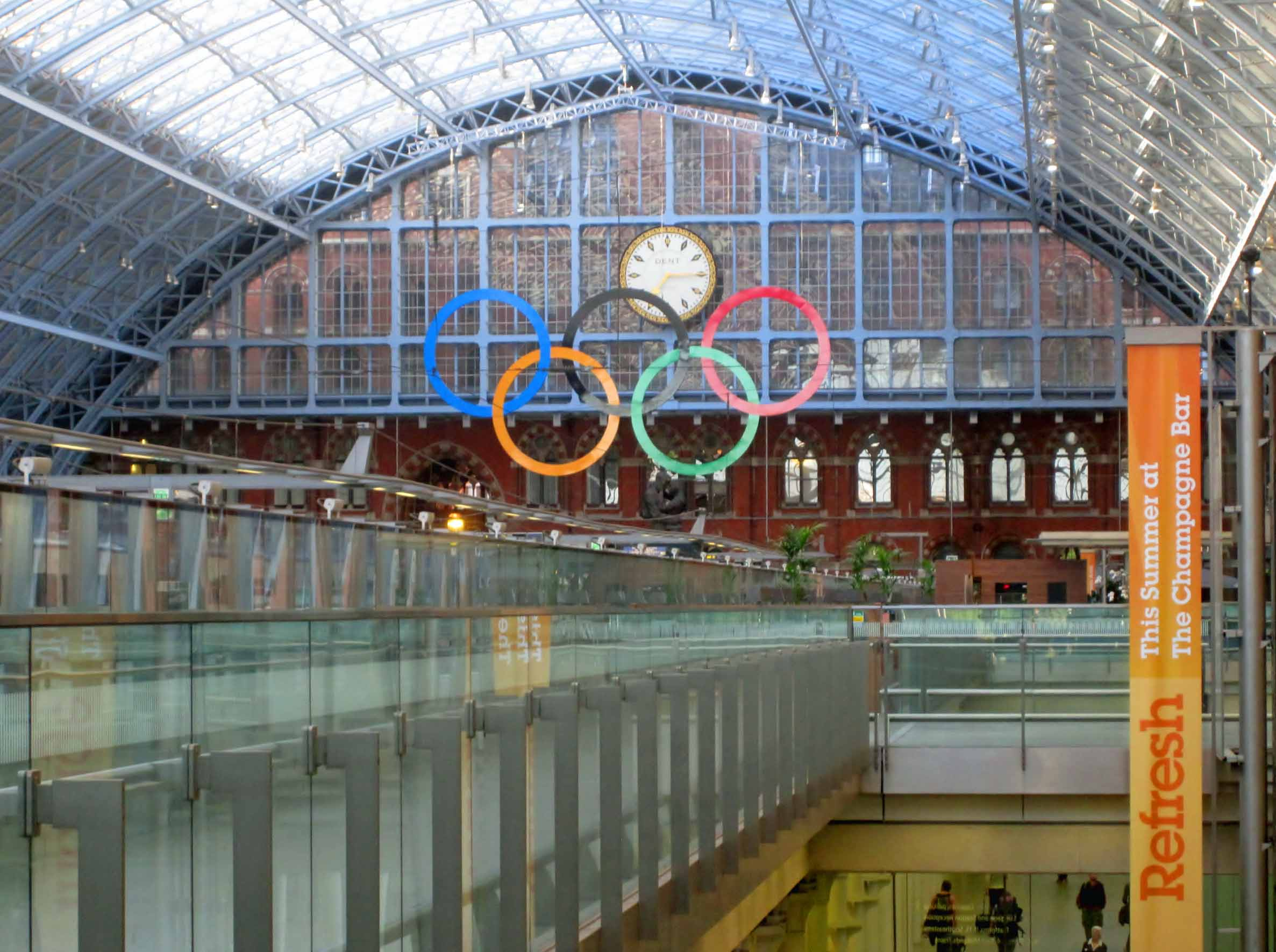 Arched station roof and Olympic rings