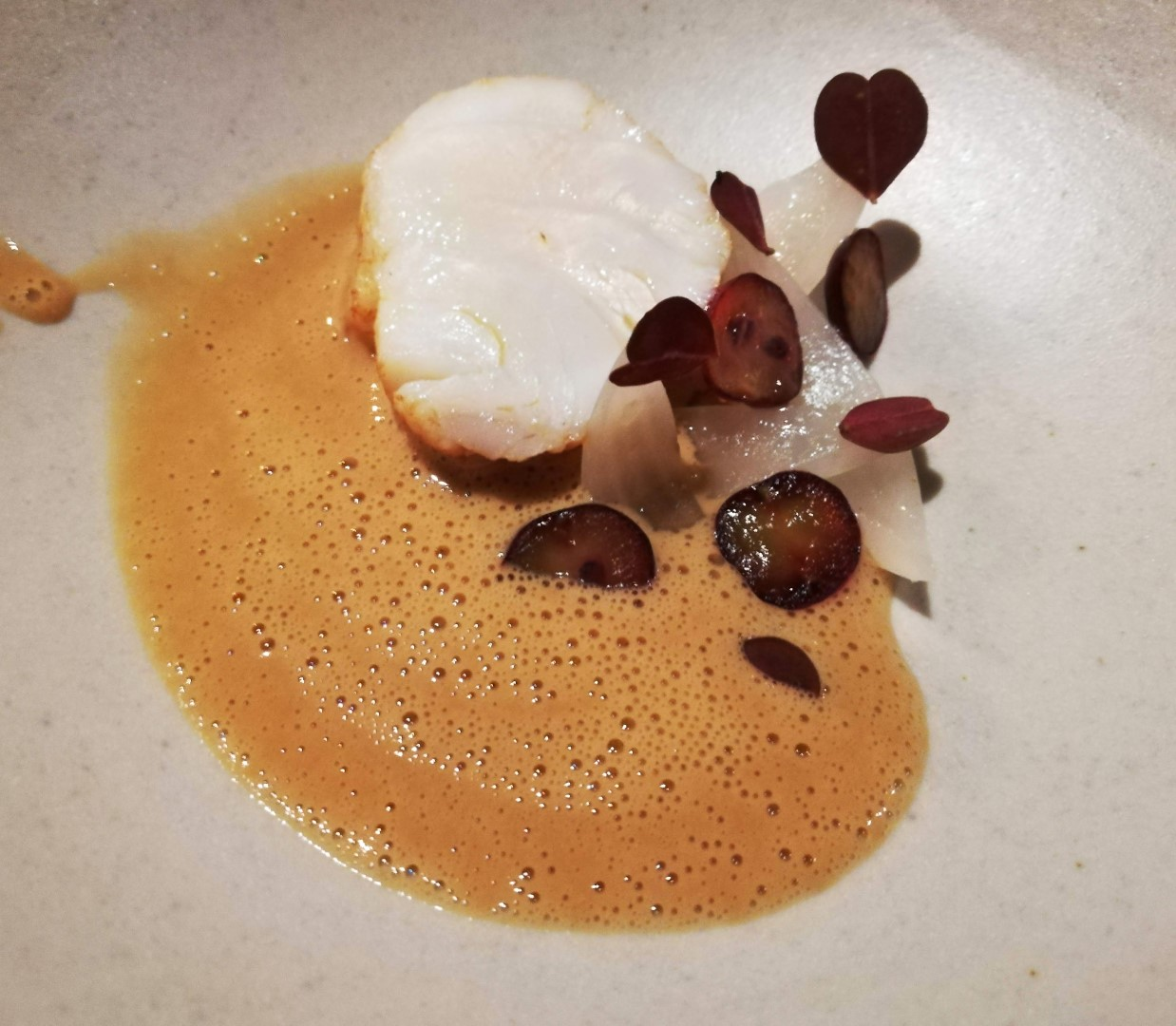 Piece of white fish in brown sauce