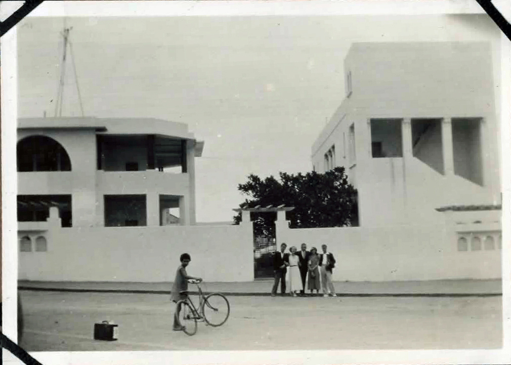 Old photo of people in a street