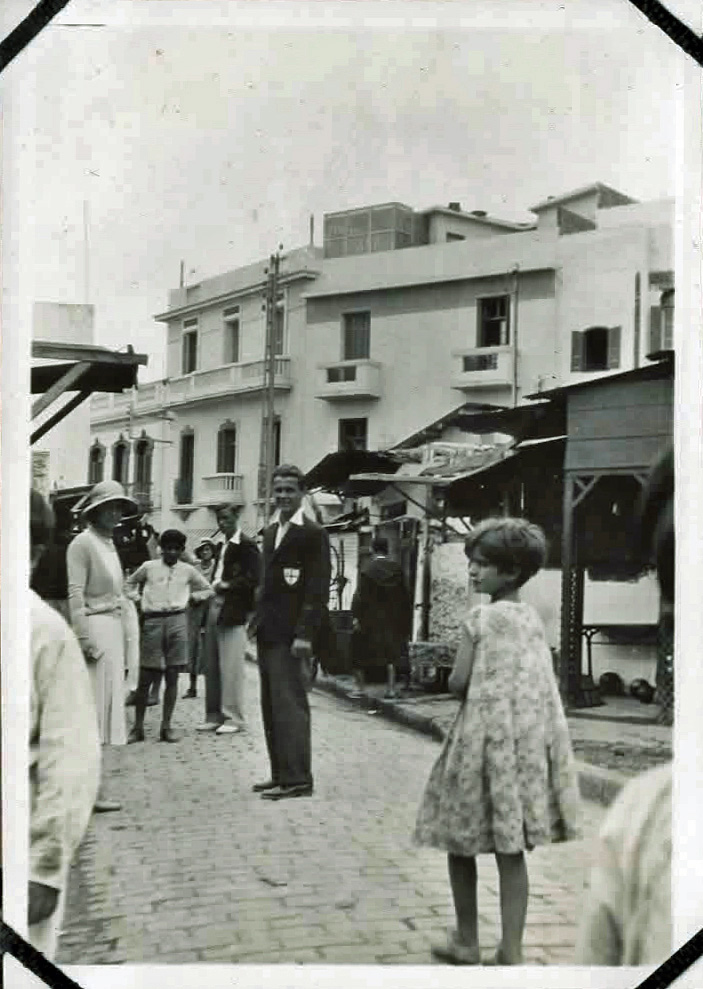 Old photo of people on a city street