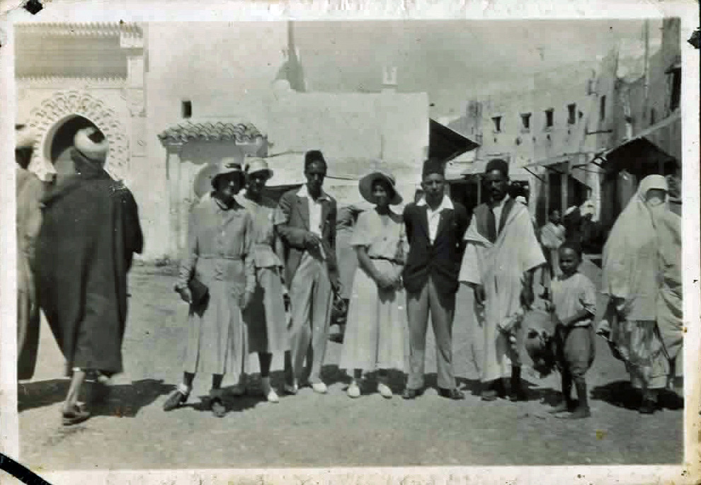 Old photo of people in African city