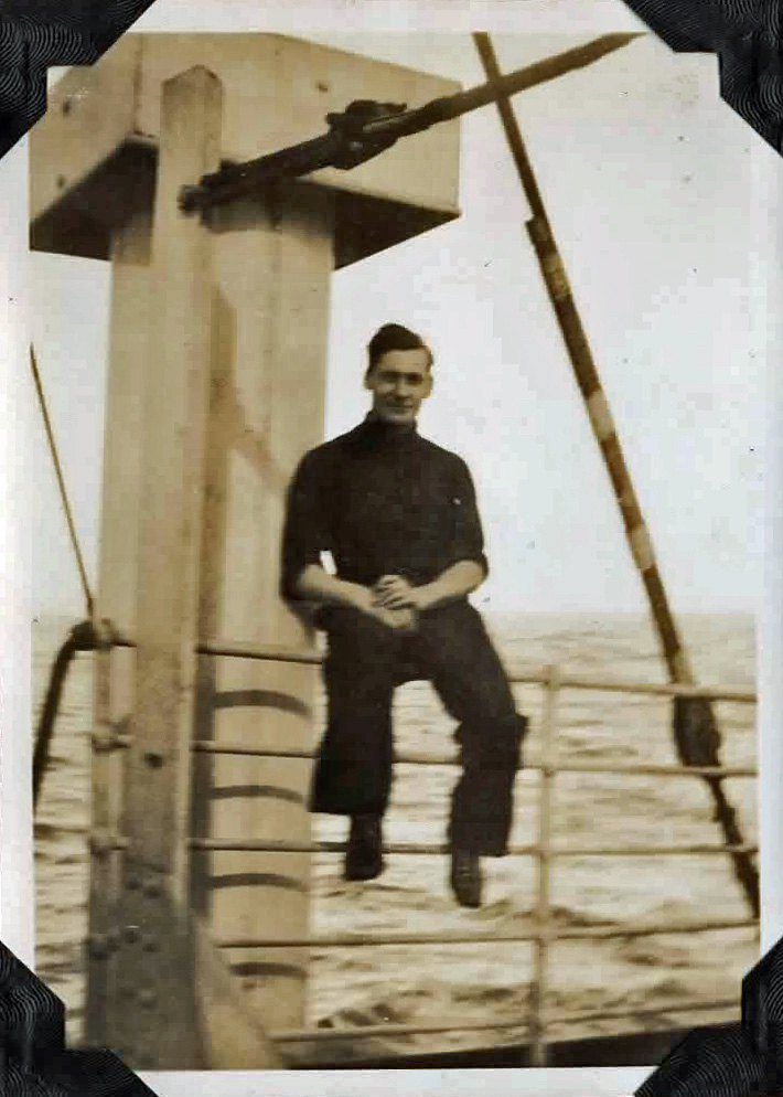 Old photo of a man on a ship