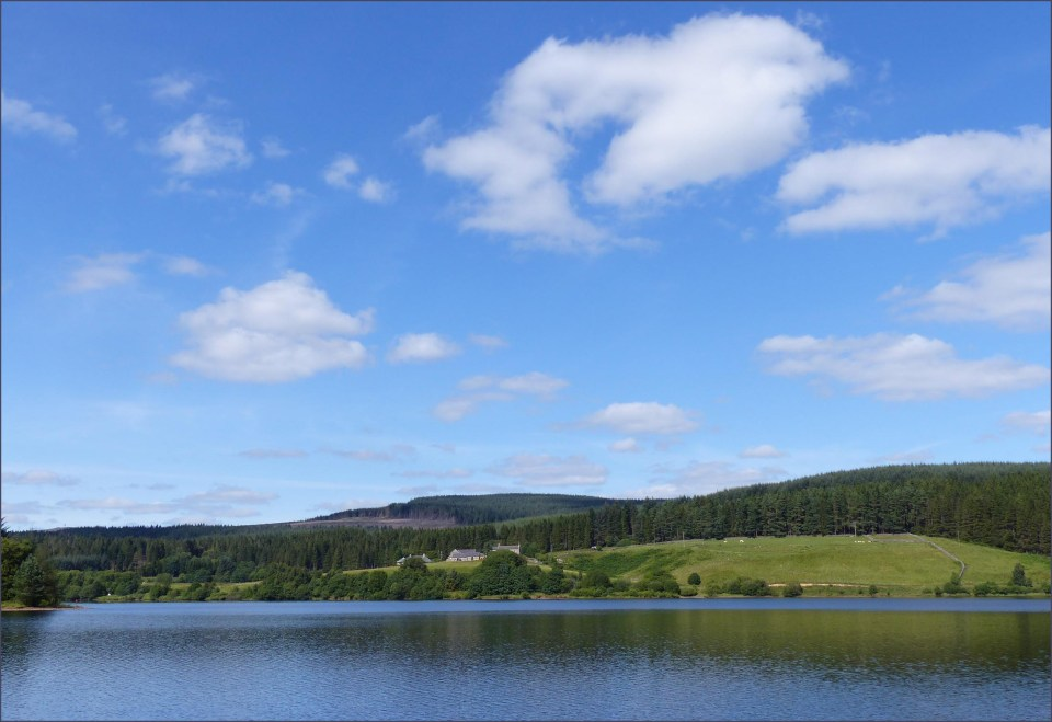 Lake with blue sky above