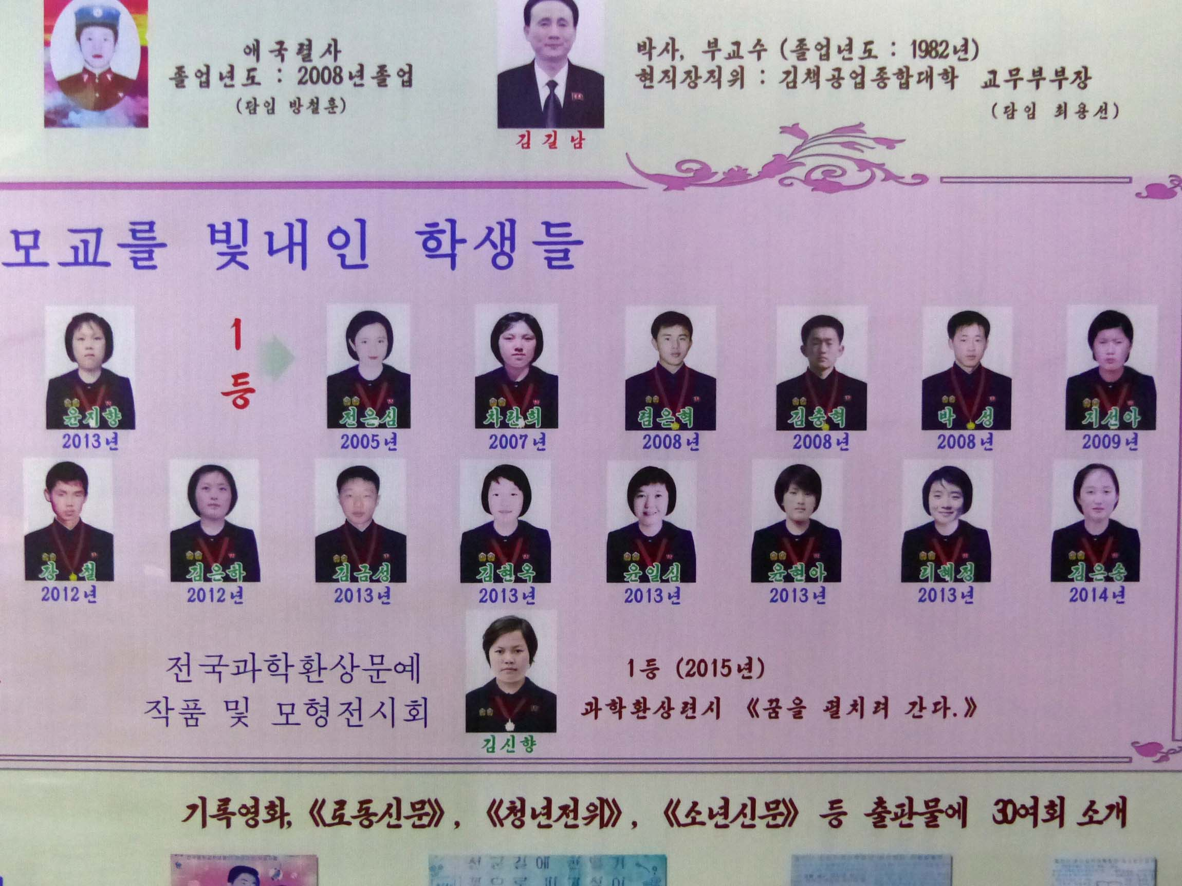 Poster showing faces of students with dates