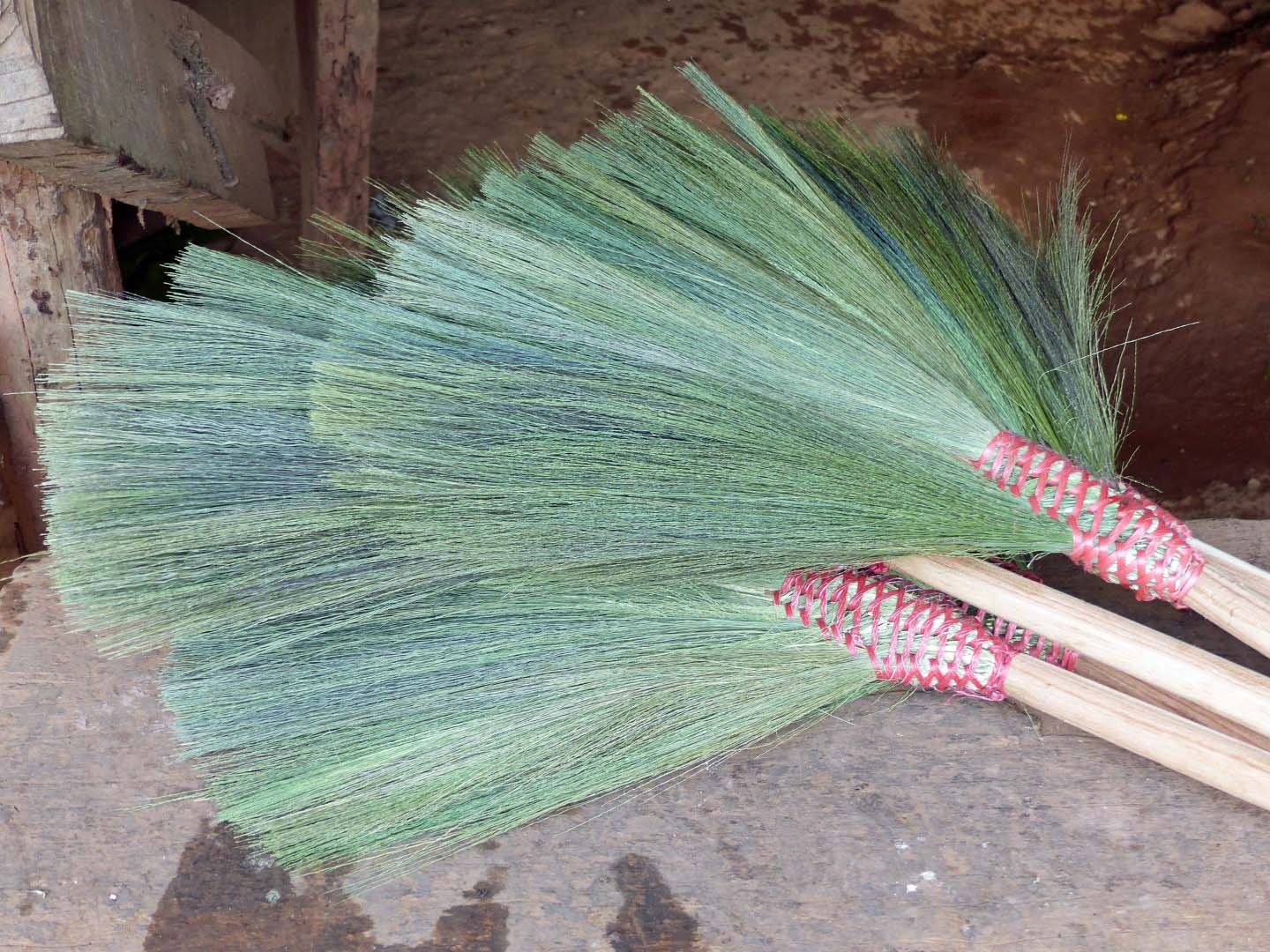 Brooms made from green grasses