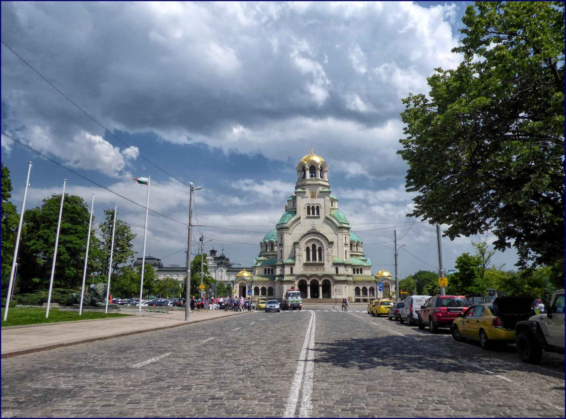 Orthodox cathedral at the end of a wide street