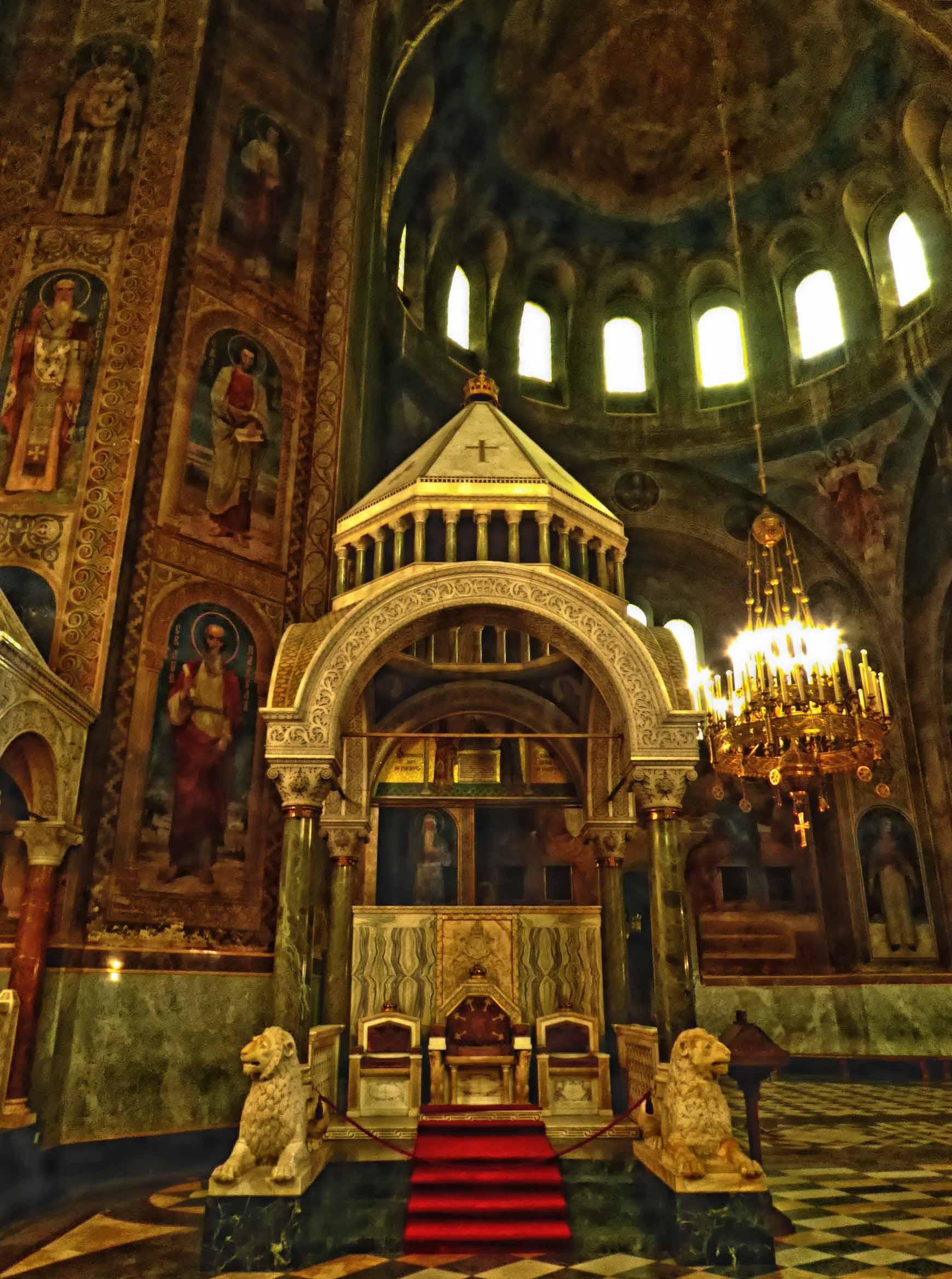 Dark interior of Orthodox cathedral