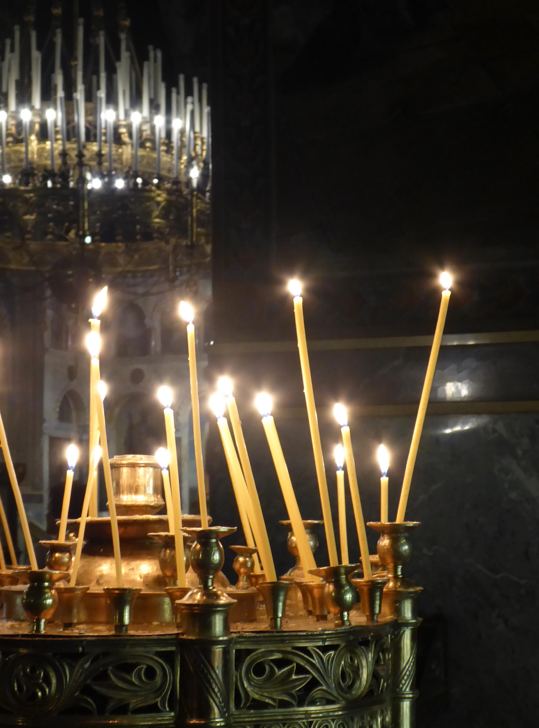 Candles in an Orthodox cathedral