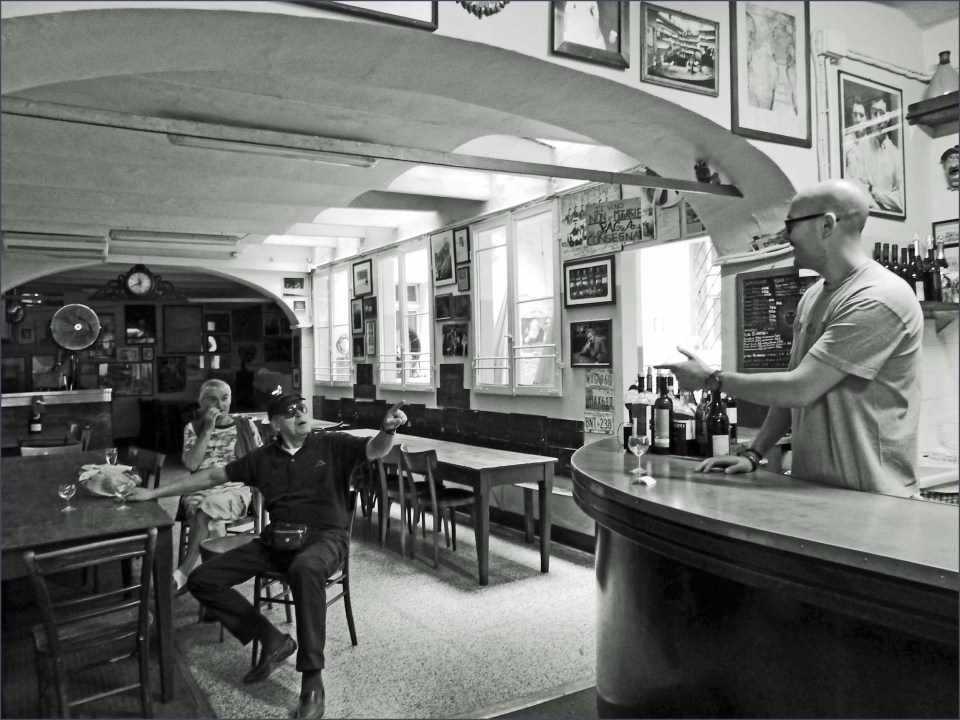 Black and white photo of simple bar