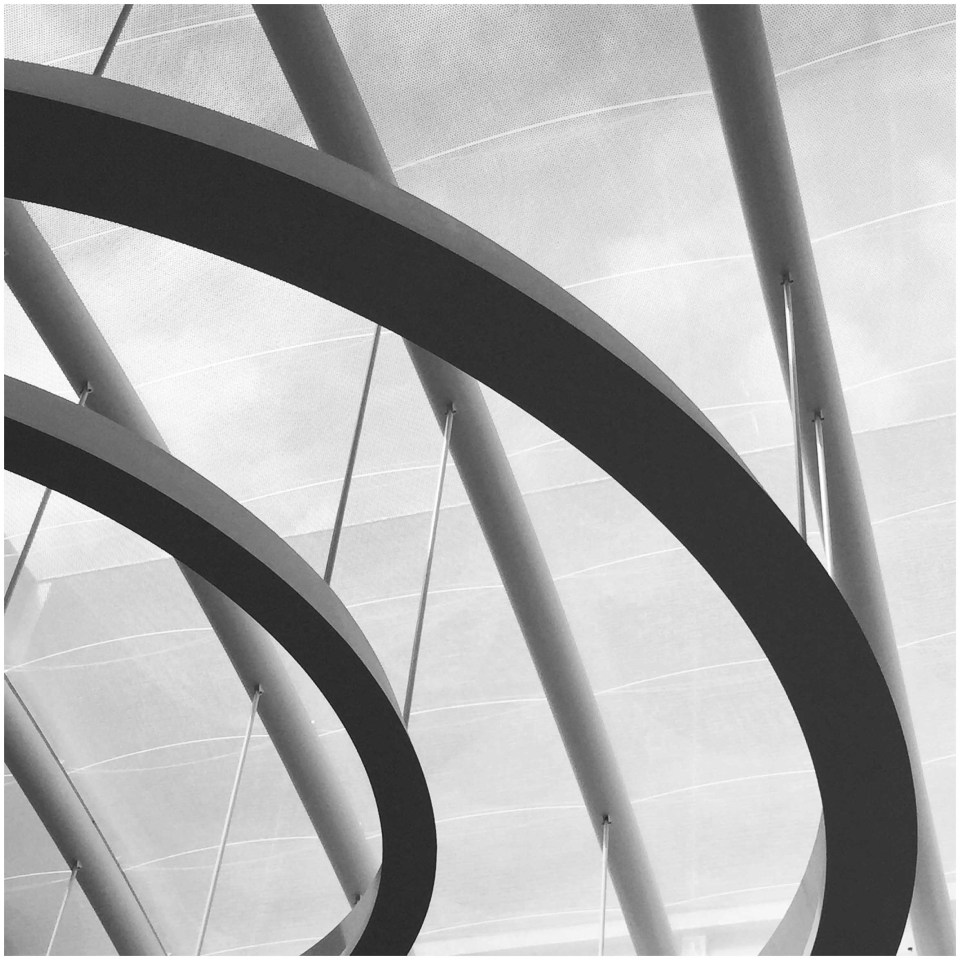 Black and white photo of glass roof