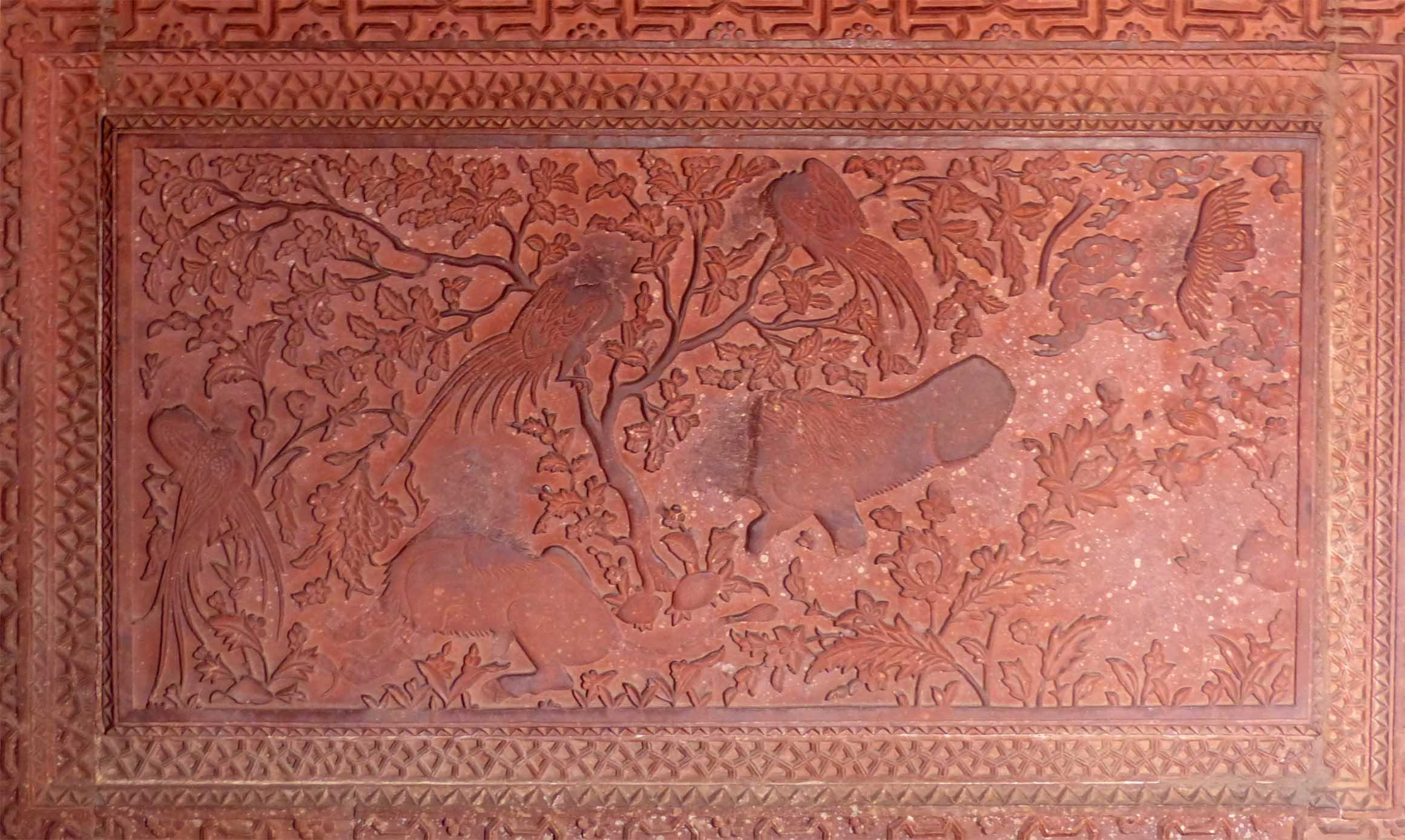 Red sandstone carving, partly damaged