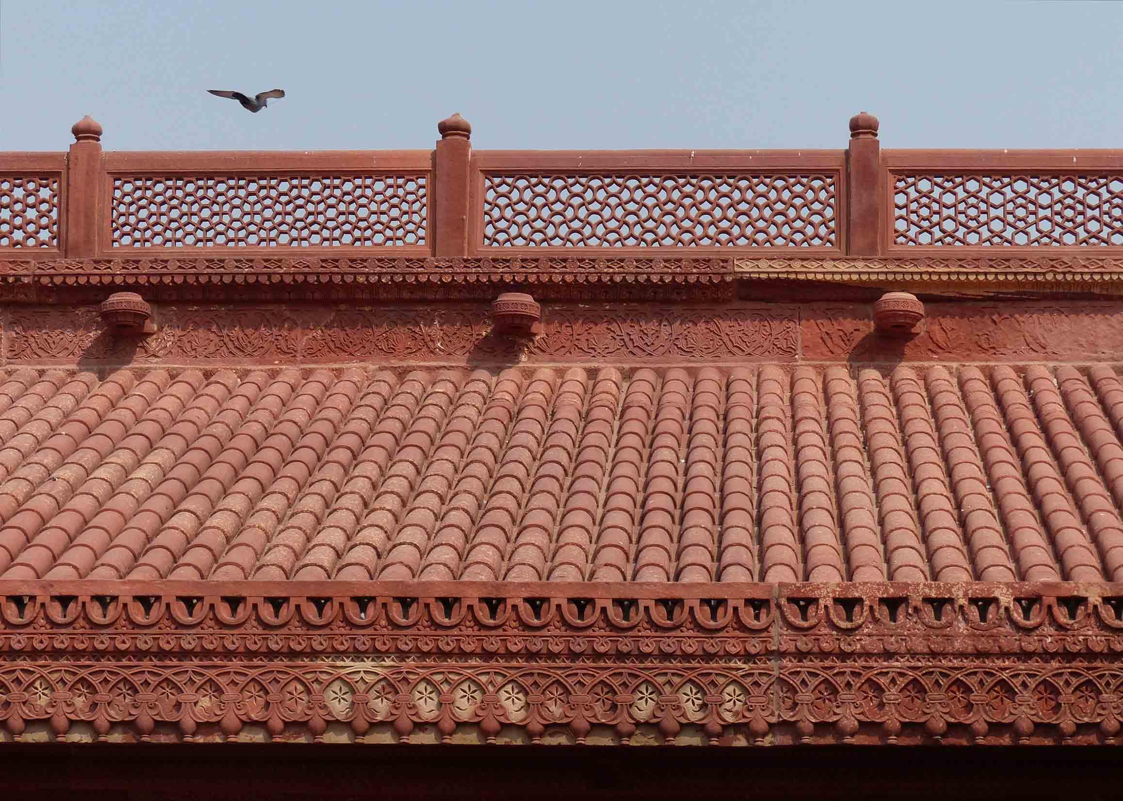 Ornate red sandstone roof