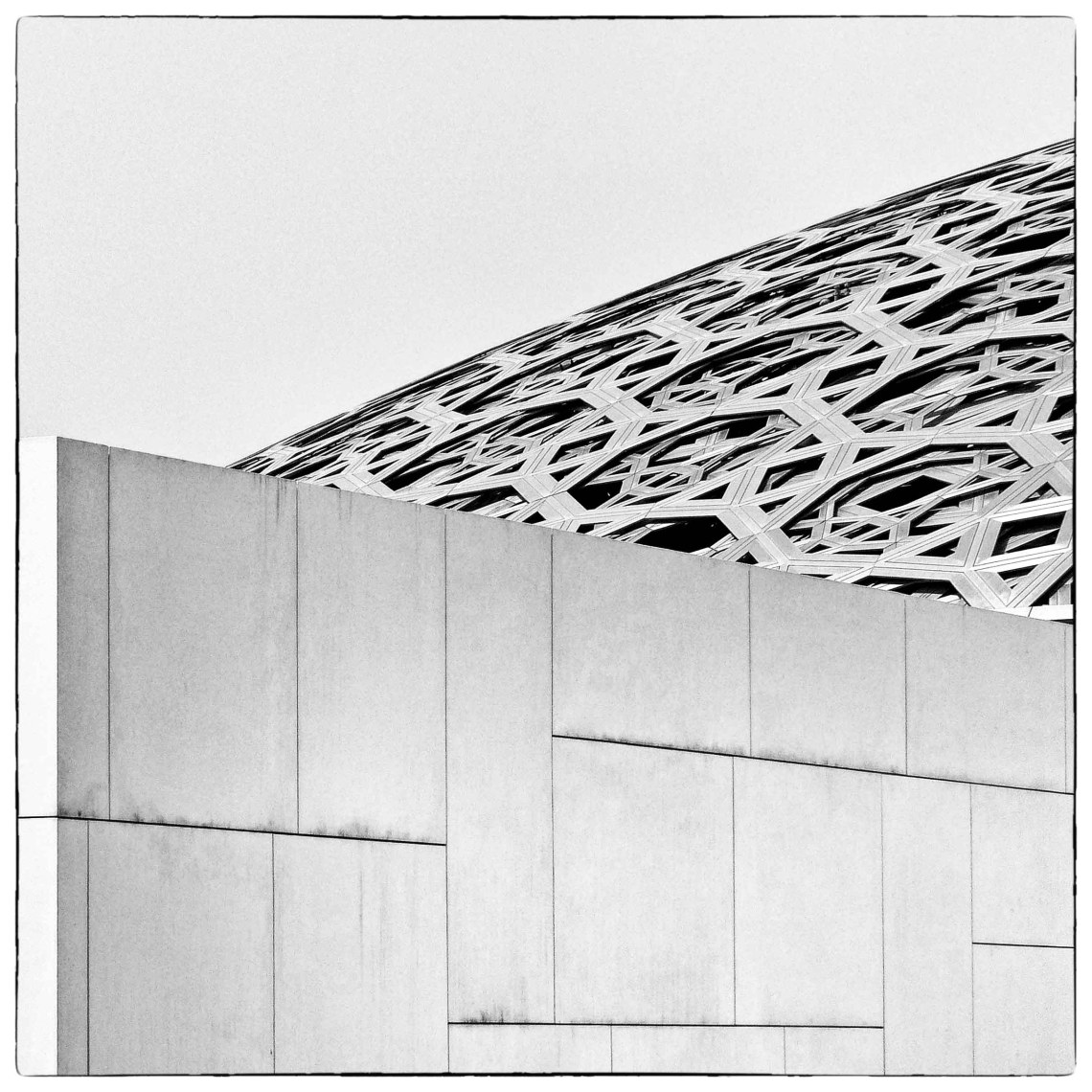 Black and white photo of white building