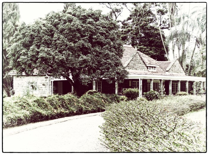 Faded photo of low stone house set in a garden