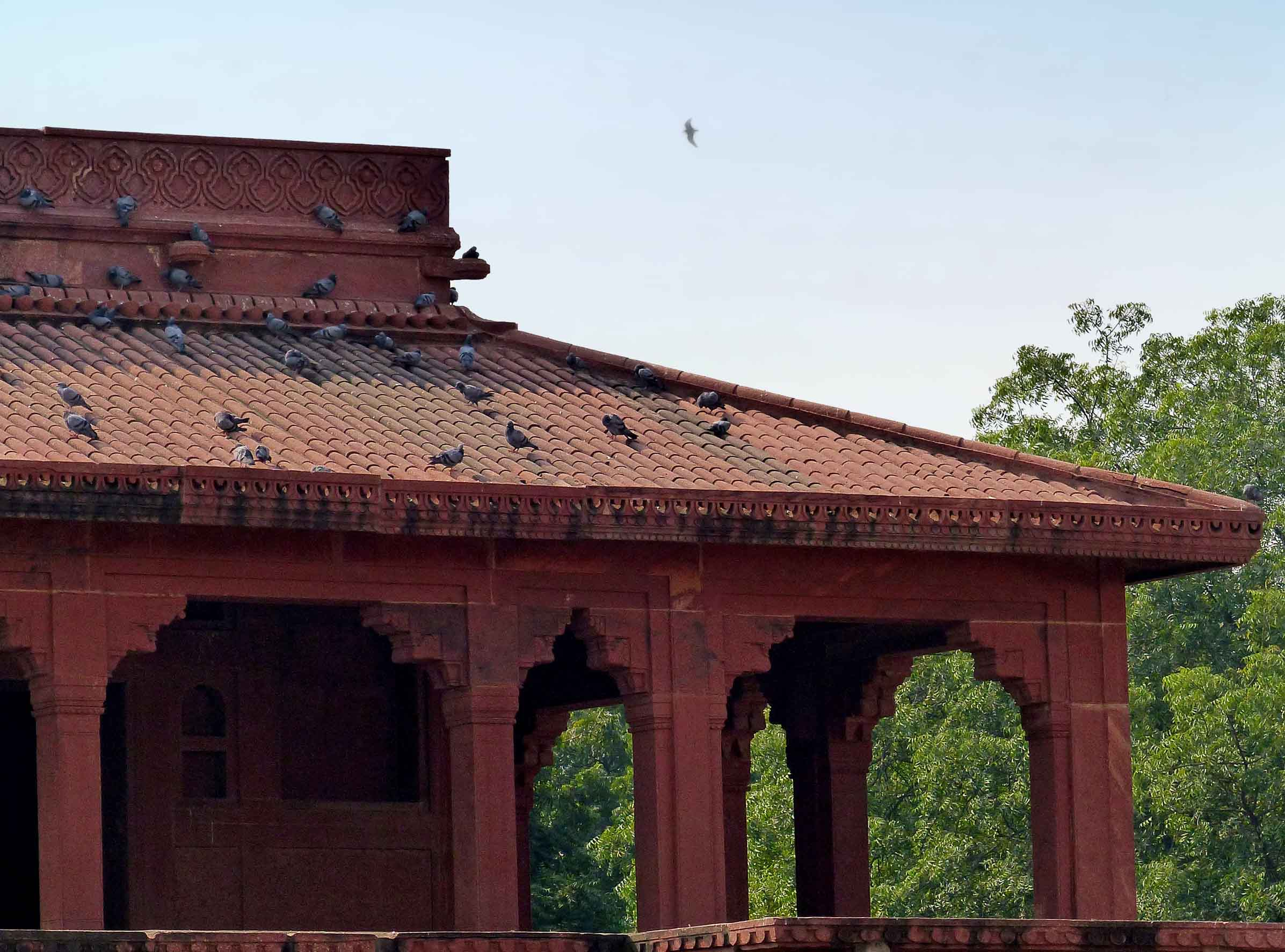 Red sandstone palace roof