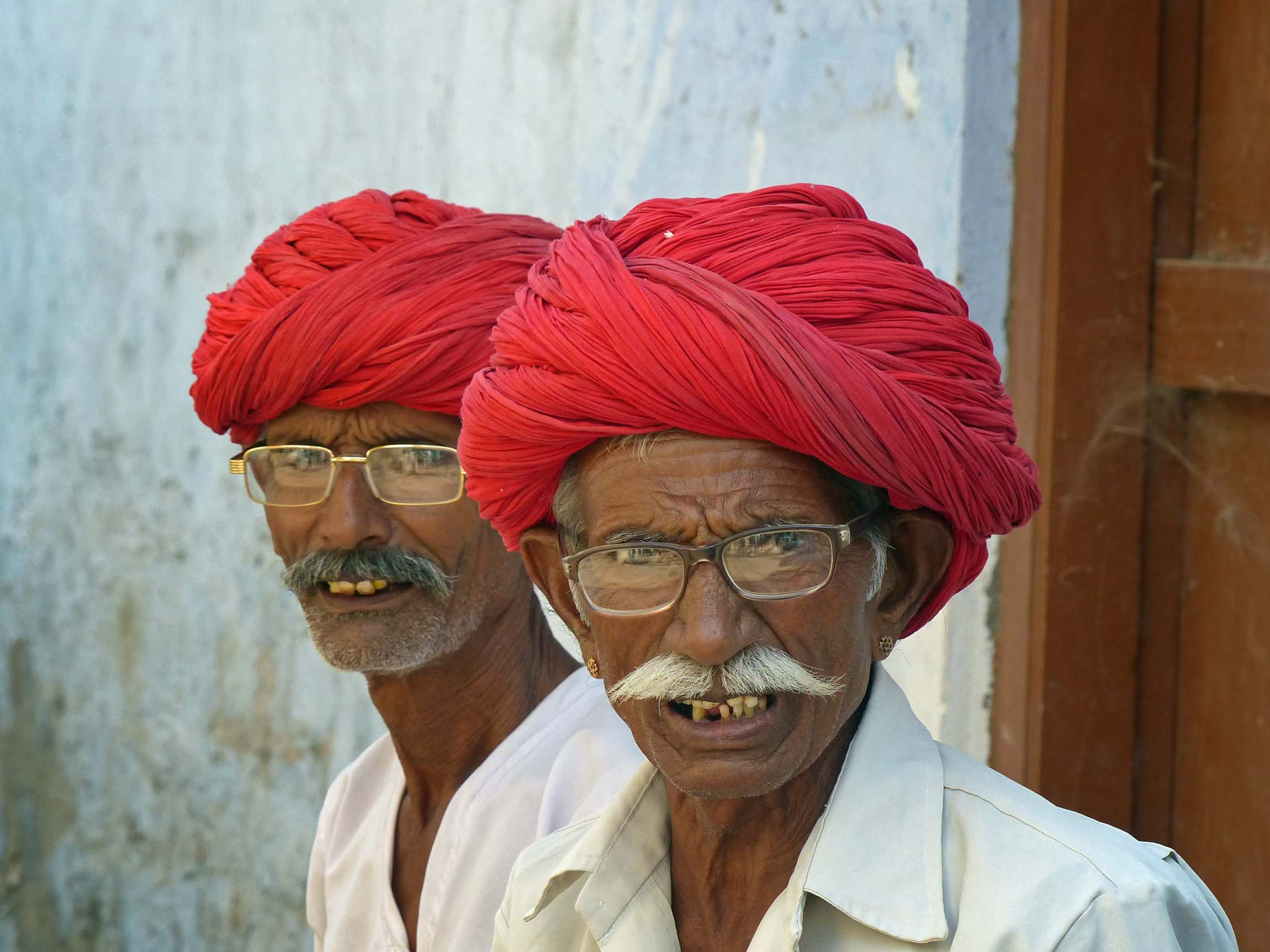Two men in red turbans