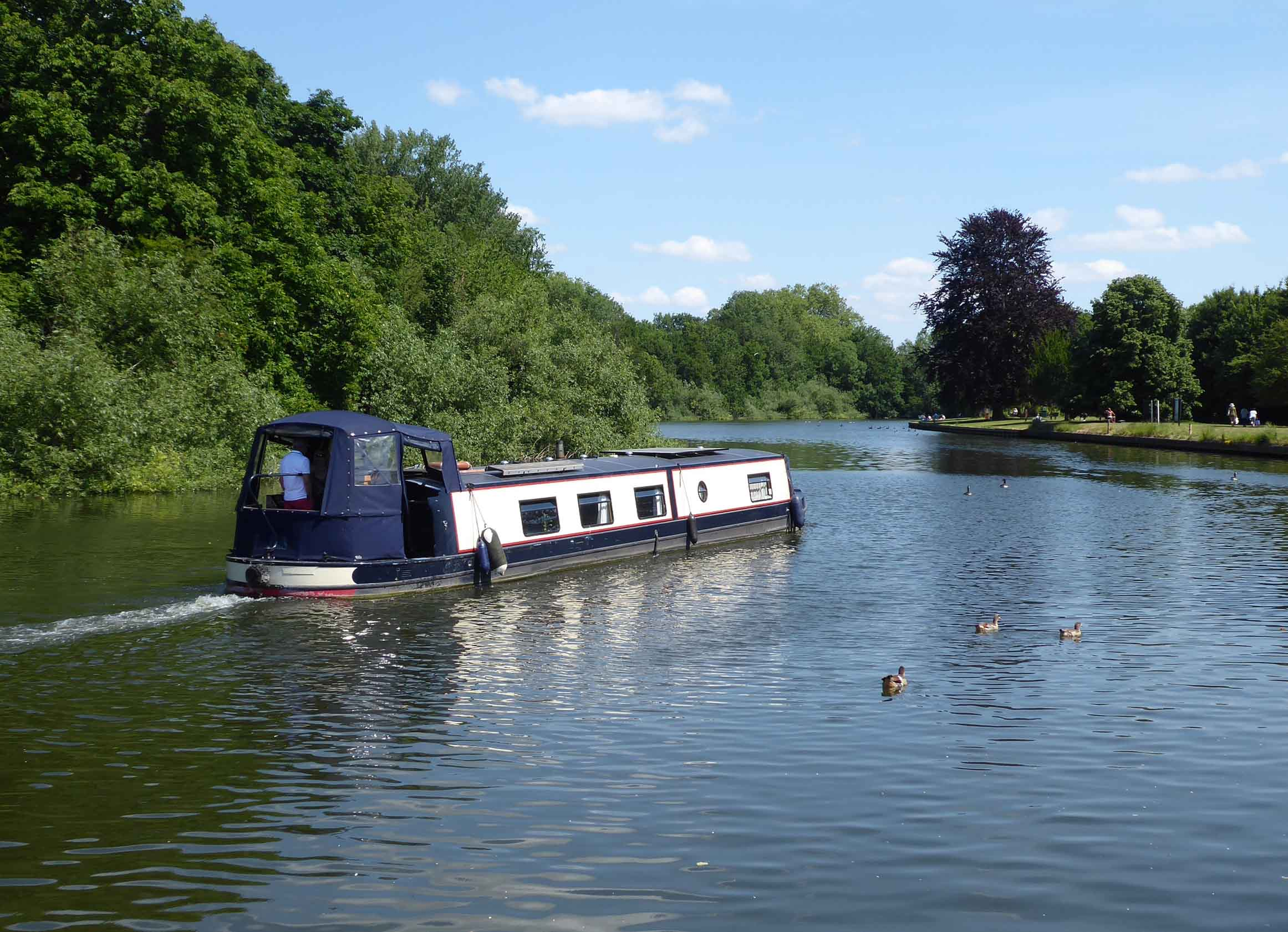 Narrowboat on a river