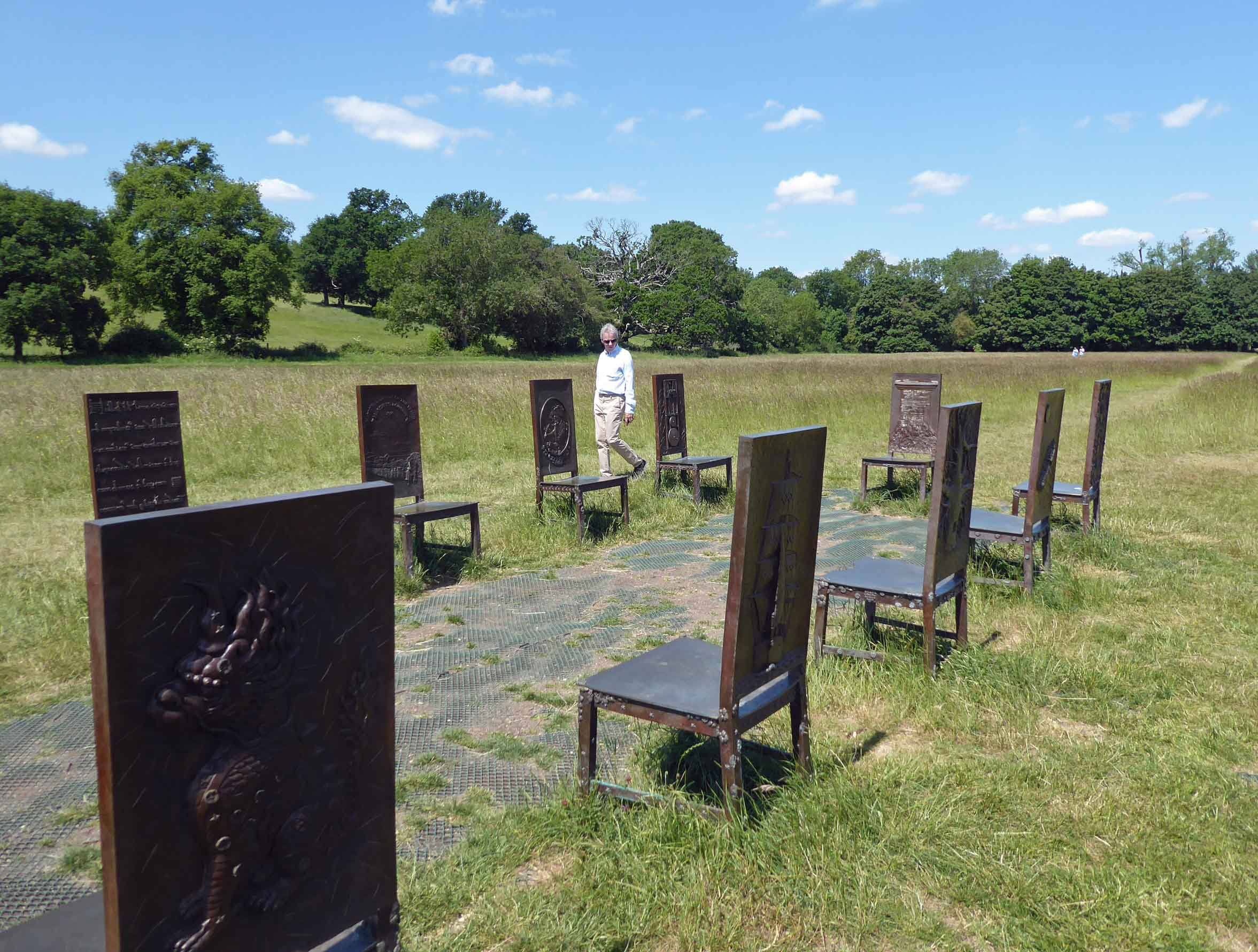Metal chairs in a landscape