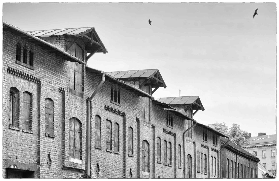 Old warehouses in black and white