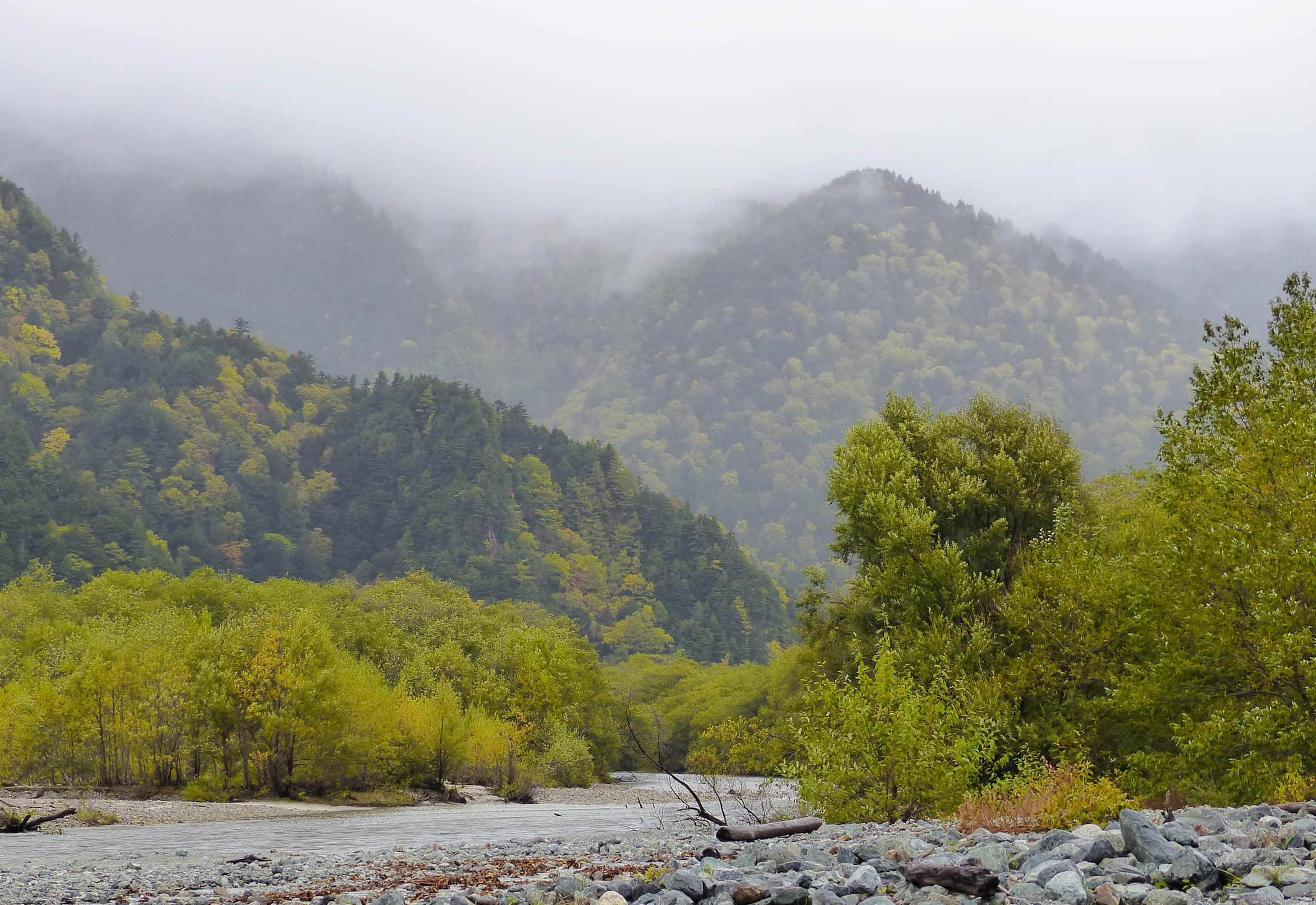Wooded hillsides with low cloud and river