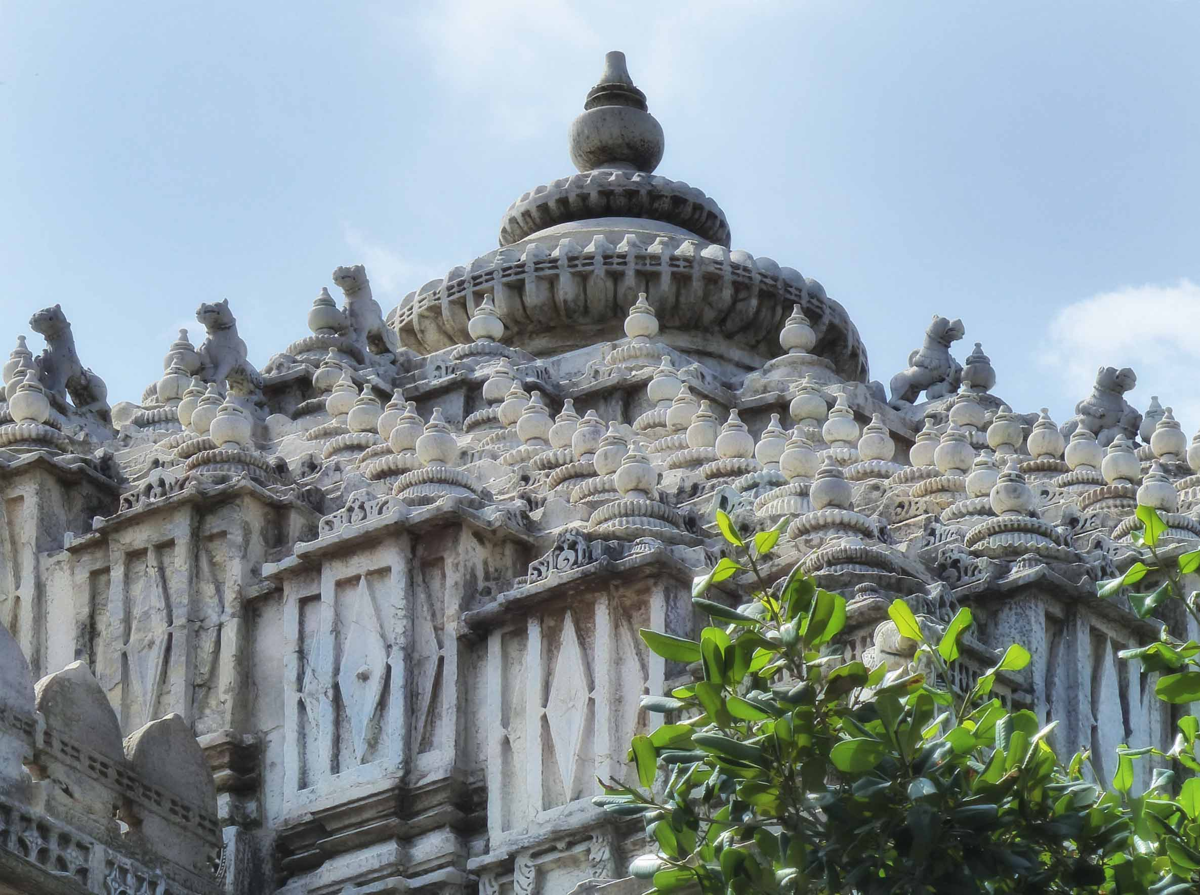 Intricate carved white roof