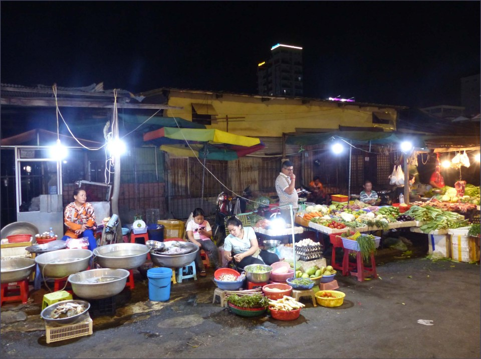 Food stalls at night