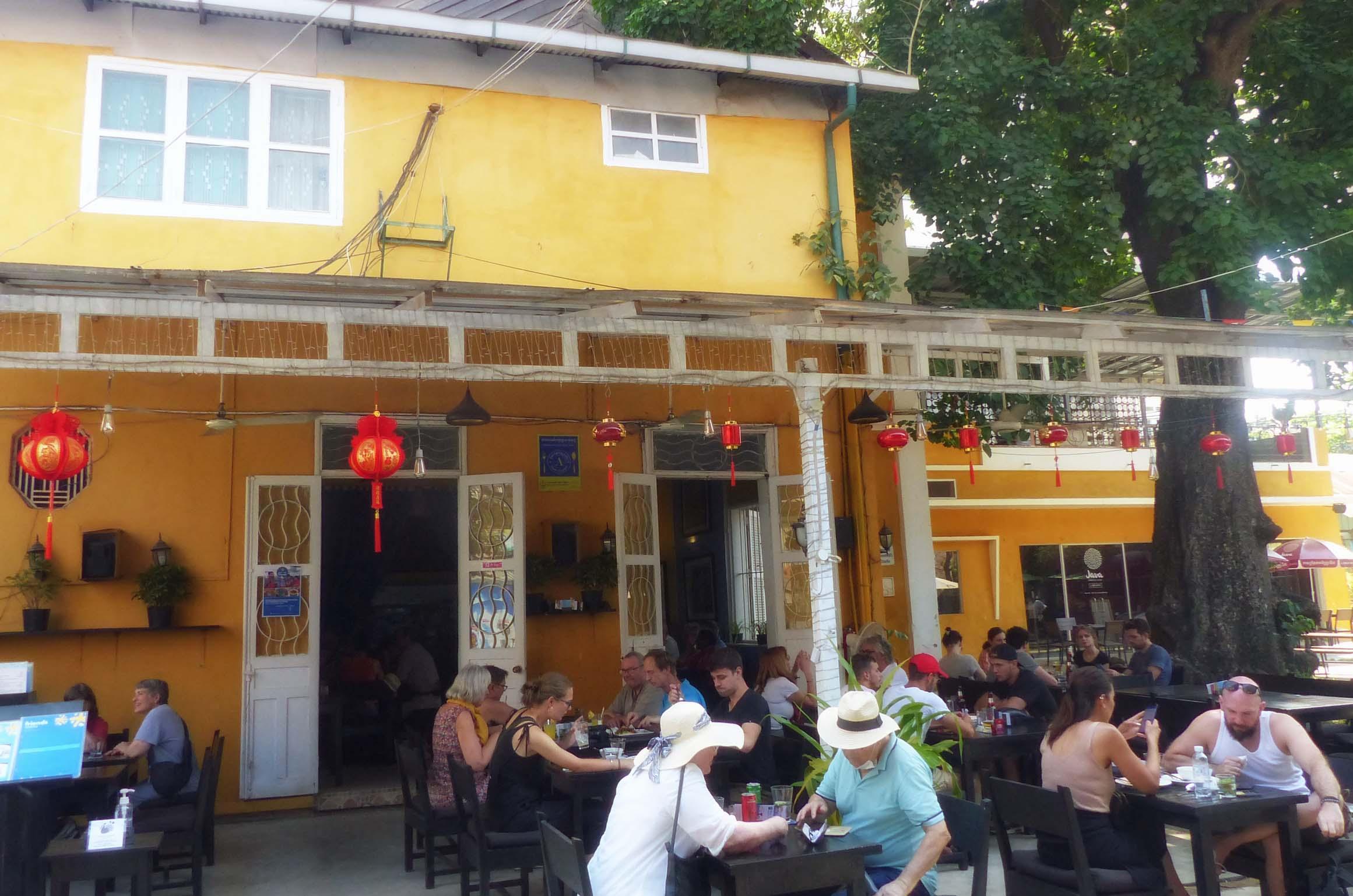 Busy restaurant terrace